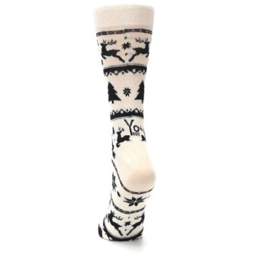 Image of Cream Black Reindeer Tree Christmas Women's Dress Socks (back-17)