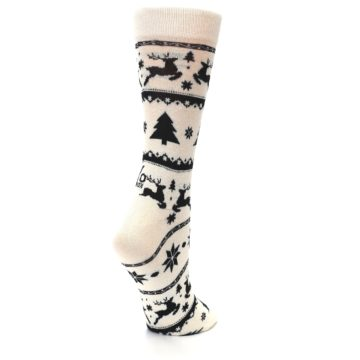 Image of Cream Black Reindeer Tree Christmas Women's Dress Socks (side-1-back-22)