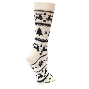 Image of Cream Black Reindeer Tree Christmas Women's Dress Socks (side-1-23)