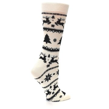 Image of Cream Black Reindeer Tree Christmas Women's Dress Socks (side-1-24)