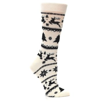 Image of Cream Black Reindeer Tree Christmas Women's Dress Socks (side-1-25)