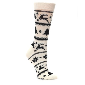 Image of Cream Black Reindeer Tree Christmas Women's Dress Socks (side-1-26)