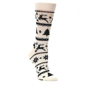Image of Cream Black Reindeer Tree Christmas Women's Dress Socks (side-1-27)