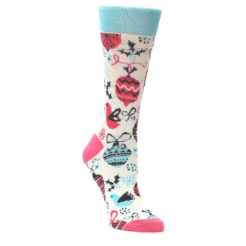 Cream-Pink-Blue-Christmas-Ornaments-Womens-Dress-Socks-Yo-Sox