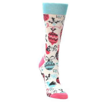 Image of Cream Pink Blue Christmas Ornaments Women's Dress Socks (side-1-front-02)