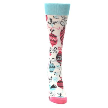 Image of Cream Pink Blue Christmas Ornaments Women's Dress Socks (front-04)