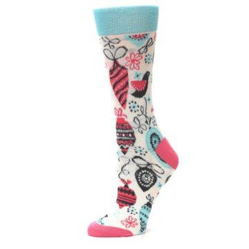 Image of Cream Pink Blue Christmas Ornaments Women's Dress Socks (side-2-10)