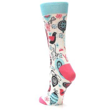 Image of Cream Pink Blue Christmas Ornaments Women's Dress Socks (side-2-back-15)