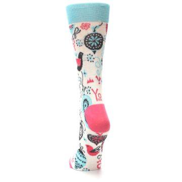 Image of Cream Pink Blue Christmas Ornaments Women's Dress Socks (back-17)