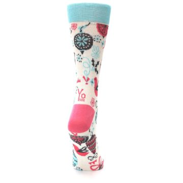 Image of Cream Pink Blue Christmas Ornaments Women's Dress Socks (side-1-back-20)