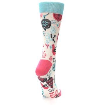 Image of Cream Pink Blue Christmas Ornaments Women's Dress Socks (side-1-back-21)