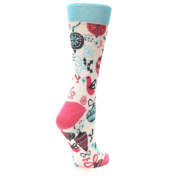 Image of Cream Pink Blue Christmas Ornaments Women's Dress Socks (side-1-back-22)