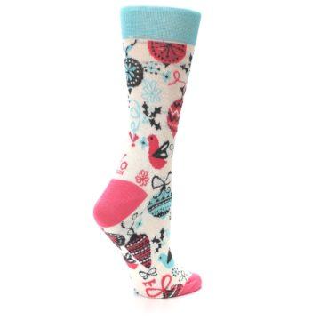 Image of Cream Pink Blue Christmas Ornaments Women's Dress Socks (side-1-23)