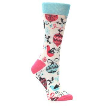 Image of Cream Pink Blue Christmas Ornaments Women's Dress Socks (side-1-25)