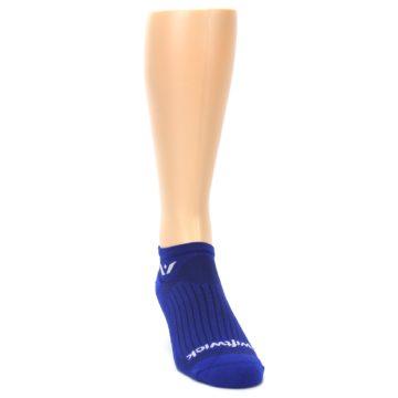 Image of Cobalt Blue Solid Zero Men's No-Show Athletic Socks (side-1-front-03)