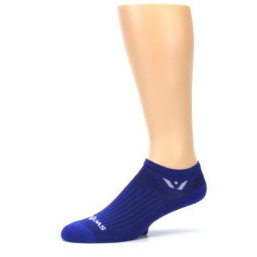 Image of Cobalt Blue Solid Zero Men's No-Show Athletic Socks (side-2-10)
