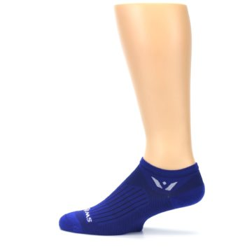 Image of Cobalt Blue Solid Zero Men's No-Show Athletic Socks (side-2-12)