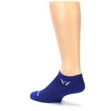 Image of Cobalt Blue Solid Zero Men's No-Show Athletic Socks (side-2-back-14)