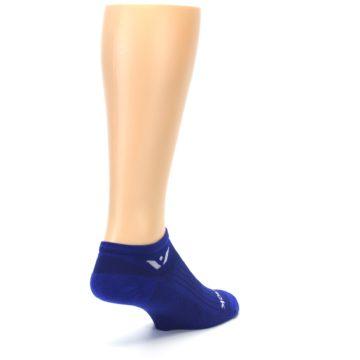 Image of Cobalt Blue Solid Zero Men's No-Show Athletic Socks (side-1-back-21)