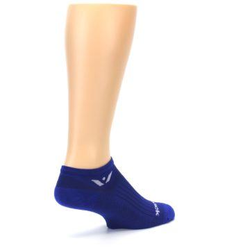 Image of Cobalt Blue Solid Zero Men's No-Show Athletic Socks (side-1-back-22)