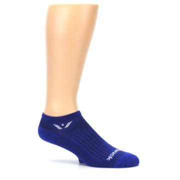 Image of Cobalt Blue Solid Zero Men's No-Show Athletic Socks (side-1-25)