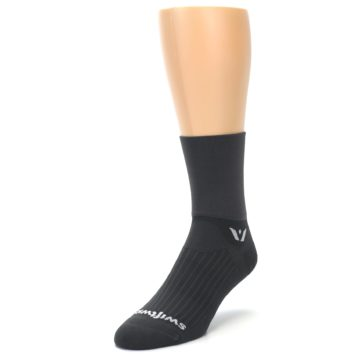 Image of Gray Solid Men's Crew Athletic Socks (side-2-front-07)