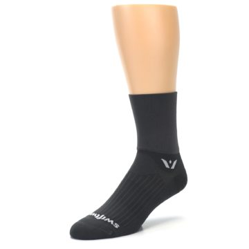Image of Gray Solid Men's Crew Athletic Socks (side-2-front-08)