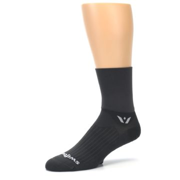 Image of Gray Solid Men's Crew Athletic Socks (side-2-09)