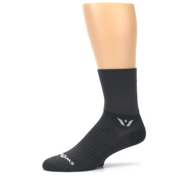 Image of Gray Solid Men's Crew Athletic Socks (side-2-10)
