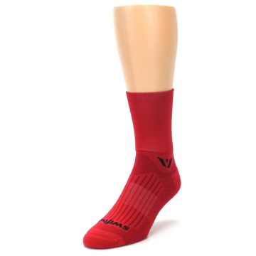 Image of Red Solid Men's Crew Athletic Socks (side-2-front-07)