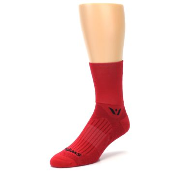 Image of Red Solid Men's Crew Athletic Socks (side-2-front-08)