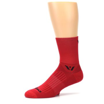 Image of Red Solid Men's Crew Athletic Socks (side-2-10)