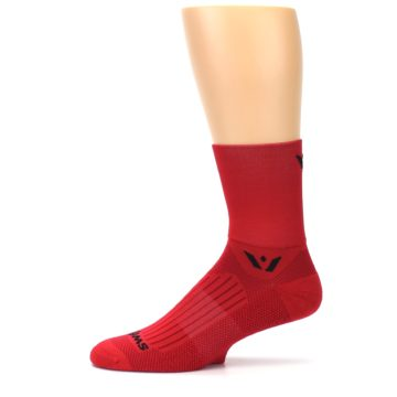 Image of Red Solid Men's Crew Athletic Socks (side-2-11)