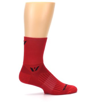 Image of Red Solid Men's Crew Athletic Socks (side-1-24)