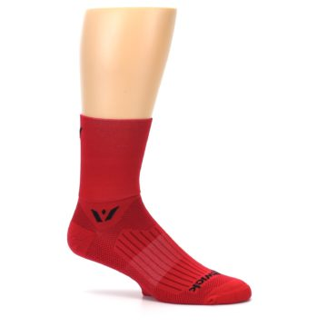 Image of Red Solid Men's Crew Athletic Socks (side-1-25)