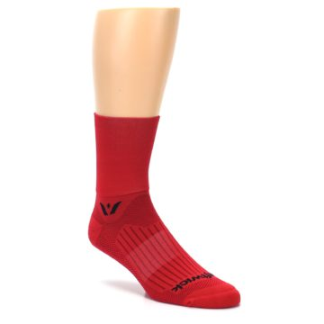 Image of Red Solid Men's Crew Athletic Socks (side-1-27)