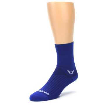 Image of Cobalt Blue Solid Men's Crew Athletic Socks (side-2-front-08)