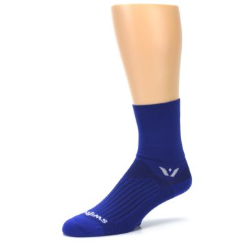 Image of Cobalt Blue Solid Men's Crew Athletic Socks (side-2-09)