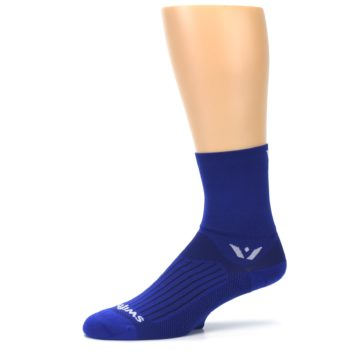 Image of Cobalt Blue Solid Men's Crew Athletic Socks (side-2-10)