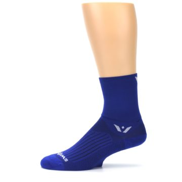Image of Cobalt Blue Solid Men's Crew Athletic Socks (side-2-11)