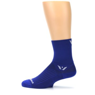 Image of Cobalt Blue Solid Men's Crew Athletic Socks (side-2-12)