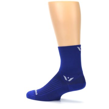 Image of Cobalt Blue Solid Men's Crew Athletic Socks (side-2-13)