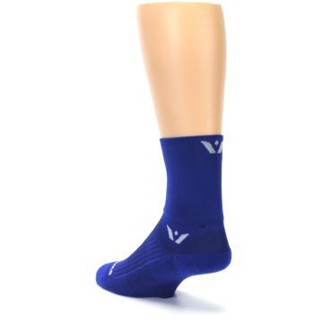 Image of Cobalt Blue Solid Men's Crew Athletic Socks (side-2-back-15)