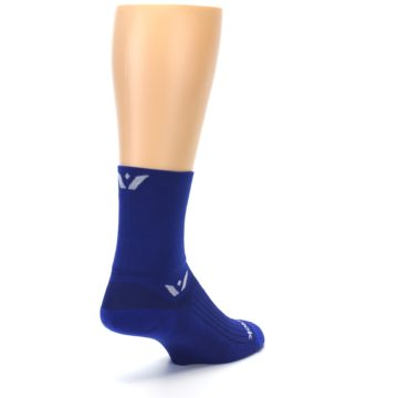 Image of Cobalt Blue Solid Men's Crew Athletic Socks (side-1-back-21)
