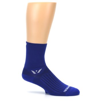 Image of Cobalt Blue Solid Men's Crew Athletic Socks (side-1-25)