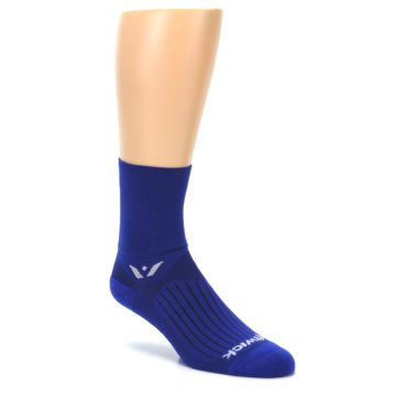 Image of Cobalt Blue Solid Men's Crew Athletic Socks (side-1-27)