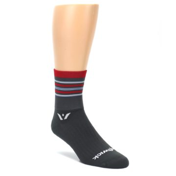 LARGE-Gray-Red-Stripe-Mens-Crew-Athletic-Socks-Swiftwick