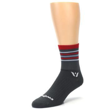 Image of Gray Red Stripe Men's Crew Athletic Socks (side-2-front-08)
