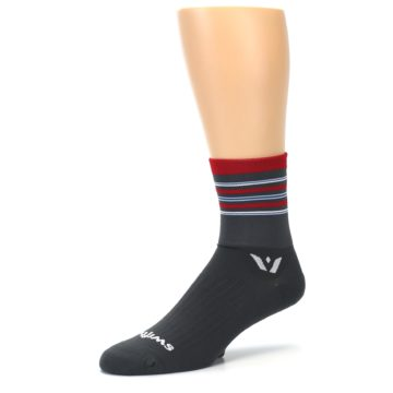 Image of Gray Red Stripe Men's Crew Athletic Socks (side-2-09)