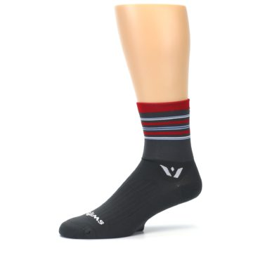 Image of Gray Red Stripe Men's Crew Athletic Socks (side-2-10)